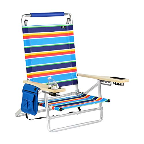Deluxe 5 Reclining Positions Lay Flat Aluminum Beach Chair with Cup Holder 250 lb Load Capacity