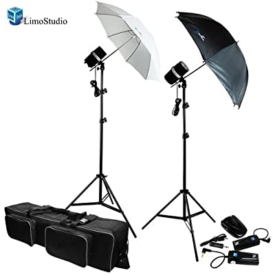 LimoStudio Two Photo Studio Monolight Strobe Flash Softbox Umbrella Lighting Kits Trigger Carry Bag, AGG710 from Limostudio