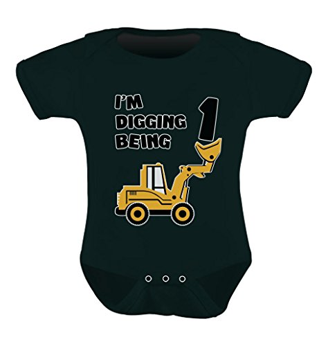 Tstars 1st Birthday Bulldozer Construction Infant Boy Baby Bodysuit 18M Black