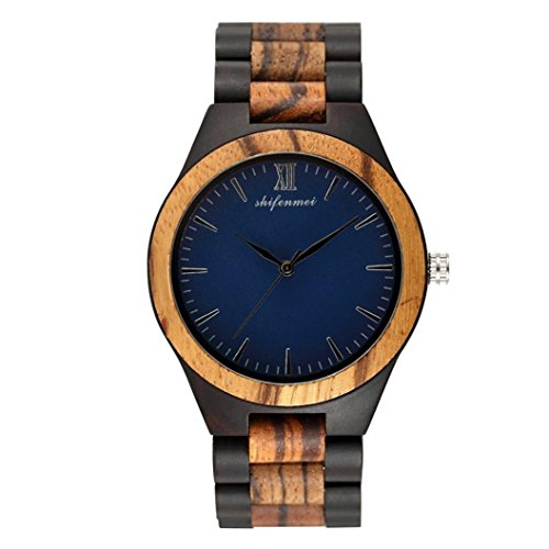 Men's Wood Watch, Natural Bamboo and Sandalwood with Quartz Movement, Genuine Leather Strap (Blue)