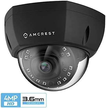 Amcrest ProHD Outdoor 4-Megapixel PoE Vandal Dome IP Security Camera, 3.6mm Lens, IP67 Weatherproof, MicroSD Storage, IK10 Vandal-Proof, IP4M-1028EB-36MM Black
