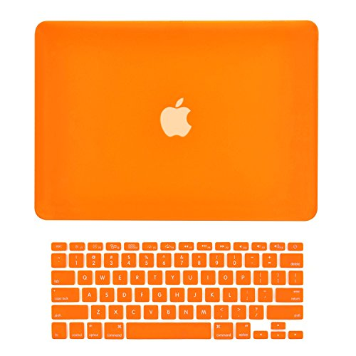 TOP CASE - 2 in 1 - Ultra Slim Light Weight Rubberized Hard Case Cover and Keyboard Cover Compatible with Apple Old Generation MacBook Pro 13-inch 13 (A1278/with or without Thunderbolt) - Orange