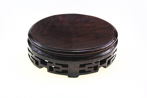 Oriental Furniture Chinese Rosewood Solid Mahagony Wood Display Stand Wooden Base Stands Elliptic Oval Oblong Shape Pedestal With Carved S 12.6cm 9.8cm 4cm ()