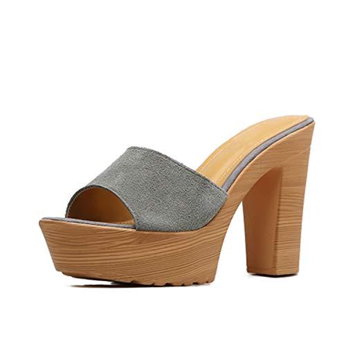 Sheep-Shoes Korean Version of High-Heeled Sandals and Slippers Platform Waterproof Platform Women's Sandals Fashion Beach Slippers,Dark Grey,7