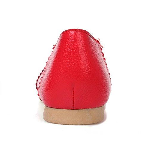 Amoonyfashion Mujeres Soft Material Redondo Cerrada Cerrada Sin Tacón Pull-on Solid Pumps-Zapatos, Rojo, 37