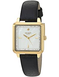 Womens Washington Square Quartz Stainless Steel and Leather Casual Watch, Color Black (
