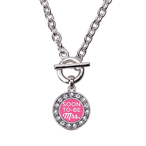 (Inspired Silver Soon to be Mrs. Circle Charm Toggle Necklace Clear Crystal Rhinestones)