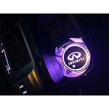 Car Logo LED Cup Pad USB Charging Mat Luminescent Cup Pad LED Mat Interior Atmosphere Lamp Decoration Light (Infiniti)