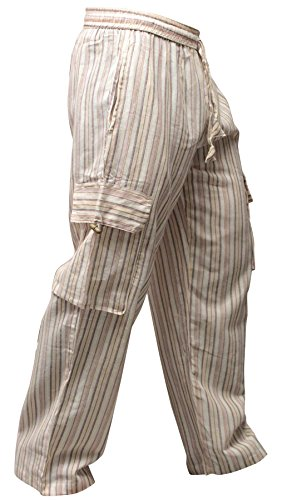 (Shopoholic Fashion Mens Light Weight Stripe Hippy Combat Trouser (Grey,3XL))