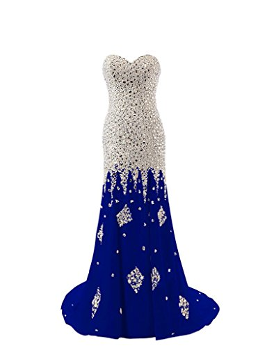 Ballkleid Gown Kristall Schulterfrei Damen Blue Royal Abendkleider Perlen Changjie Langes Formal 7At6nxqA