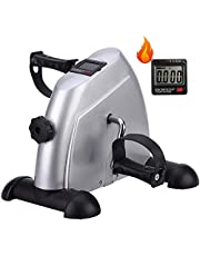 Pedal Exerciser, Under Desk Mini Exercise Bike, Arm & Leg Portable Foot Cycle Pedal Machine with LCD Screen Display