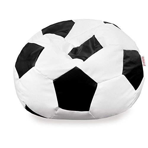 Italpouf - Puf de fútbol de Piel sintética Negra Grande, puf Saco ...