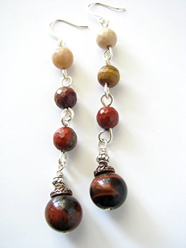 Mookaite Jasper Red Tiger Eye Long Beaded Earrings Gemstone Dangle Drop Multicolor Semi Precious Stones (Earrings Tigers Eye Jasper)