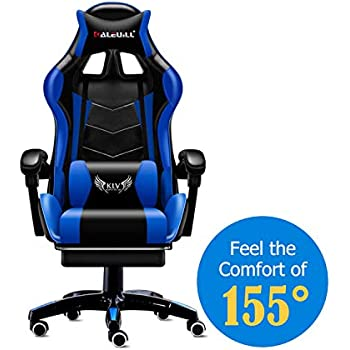 MOOSENG Video Gaming Chair Racing Office - PU Leather High Back Ergonomic 155 Degree Adjustable Swivel