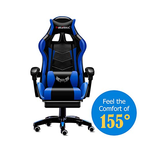 MOOSENG Video Gaming Chair Racing Office – PU Leather High Back Ergonomic 155 Degree Adjustable Swivel Executive Computer Desk Task Large Size with Footrest,Headrest and Lumbar Support (Black/Blue)