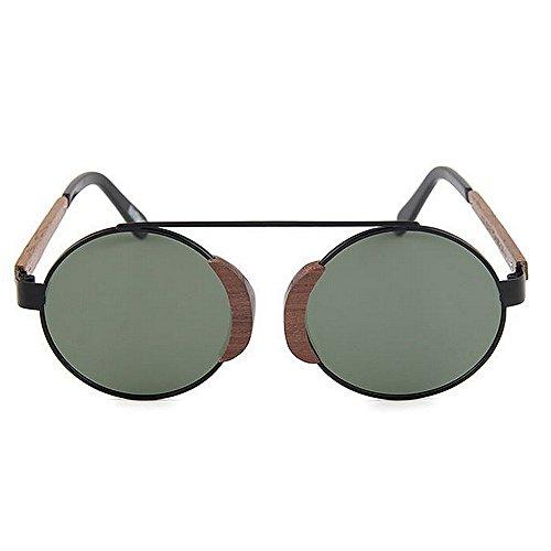 al UV Sol Pesca Sol Conducir Sol metálico de Gu de clásicas Gafas de Retro de polarizadas Gafas de Sol Hombres Gafas Peggy Playa Gafas Aire Madera de Redondas Verde Libre para Marco Protección tCwqS