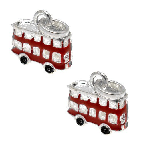 Acosta Jewellery Beads - Red Enamel Bus Dangle Charm - Slide on and Off Charms - Set of 2