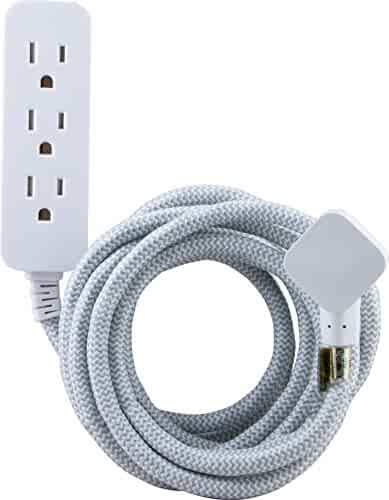GE Designer Cord Pro Designer Extension Cord with Surge Protection Gray/White (38433)