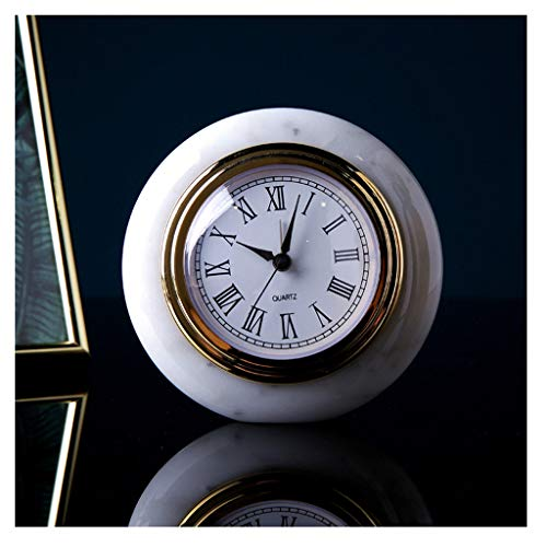 - Yxx max Bracket Clock Table Clocks for Living Room Decor Bedroom Small Round Desk Clock Battery Operated Analog Simple Non Ticking Silent Modern Decorative Marble Home Outdoor (Color : A)