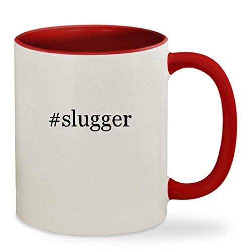 Price comparison product image slugger - 11oz Hashtag Colored Inside & Handle Sturdy Ceramic Coffee Cup Mug,  Red