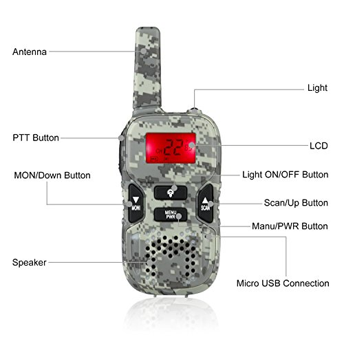 Image of the STOTOY Kids Walkie Talkies 22 Channel FRS VOX 2 Way 6KM Long Range Radio for Kids(1 Pair) (Camo)