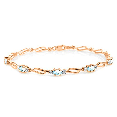 14K Solid Rose Gold Tennis Bracelet withAquamarines & ()
