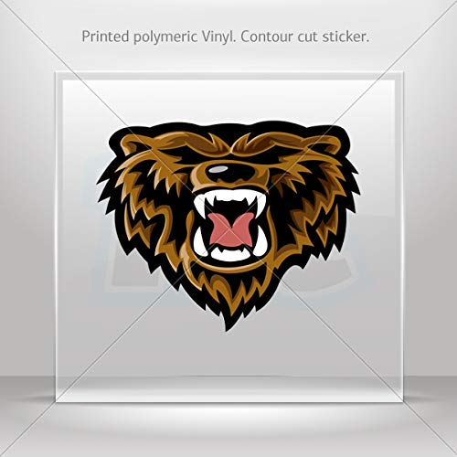 Animals Earth Various sizes Decal Stickers Grizzly Power Bear Head Hobbies Motorbike Vehicle Table (3 X 2.4 Inches)