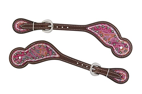 Inspired Bridle (Weaver Leather 30-0181-PK Vintage Paisley Regular Spur Straps with Pink Paisley Overlay, Regular, Rich Brown Bridle)