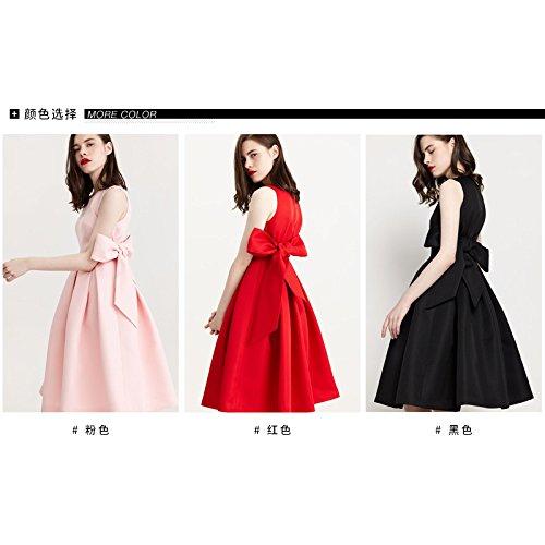 Xuanytp Sin falda Mangas Negro Vestir De Alta Vestido vestido Cintura Rosa 6rErw0Yq
