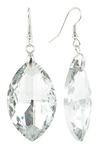 Clear Oval Lucite Gem Crystal Fish Hook Earrings