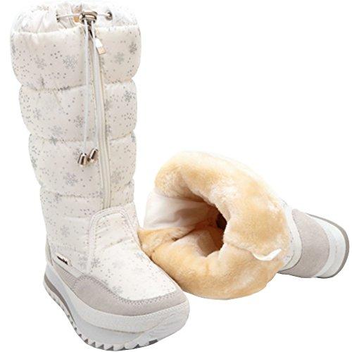 Solshine Damen Nylon Langschaft mit Fell Warm Gefütterte Wasserdicht Schneestiefel Größe 35-42 Weiß