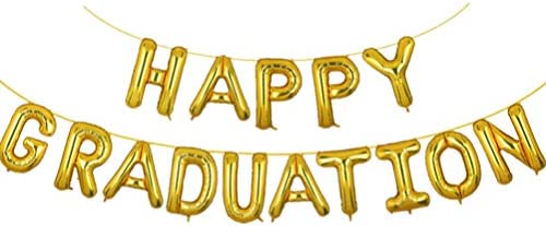 PRETYZOOM 卒業おめでとうバルーンバナーゴールド16インチレターバルーンホイルマイラーバルーン卒業パーティーの装飾と用品