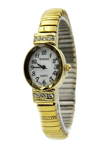 Crystal Stretch Quartz Watch (Ladies Gold Tone Dainty Stretch Band Oval Case Watch with Crystal Accent)