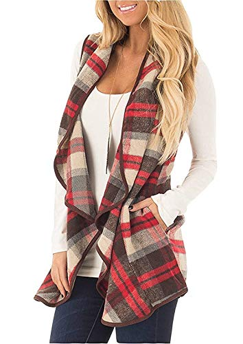 noabat Women's Casual Big Collar Slsh Plaid Cotton Vest with Pockets Light Red XX-Large