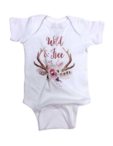 Hello Handmade Wild and Free Boho Deer Antlers Flowers Hipster Baby Bodysuit (Newborn, White)
