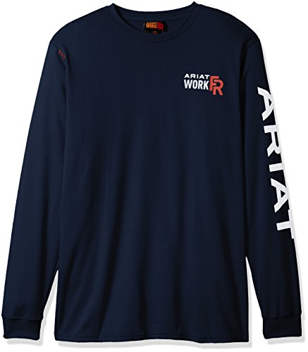 Ariat Men's Flame Resistant Long Sleeve Logo Work Crew, Navy, X-Large