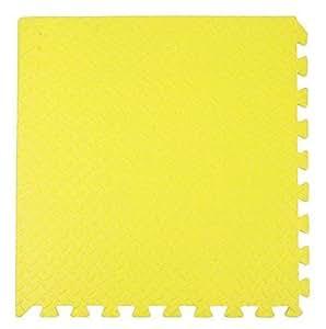 ZTMTOYS Interlock EVA Foam Floor Mat 100cmx100cmx1.5cm yellow Color Plain Exercise Puzzle Mat for kids Activity.