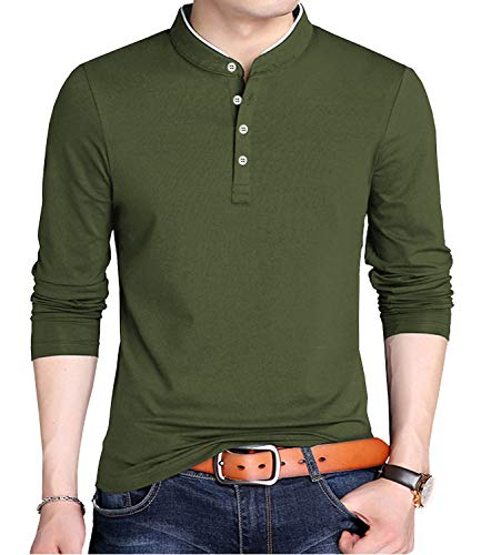 KUYIGO Men's Casual Slim Fit Shirts Long Sleeve Polo Shirts Cotton Shirts Large Army Green (Polo Sport Clothing)