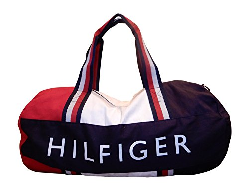 Tommy Hilfiger Patriot Duffle Bag with Wide Navy, Red and White Stripe Handles by Tommy Hilfiger