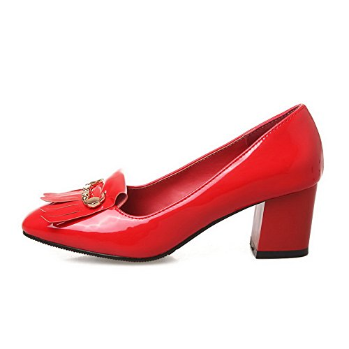 Balamasa Femmes Charmes Glands Chunky Talons Chaussures En Cuir Verni Chaussures Rouge