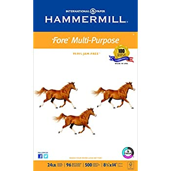 Hammermill Paper, Fore MP, 24lb, 8.5 x 14, Legal,  96 Bright, 500 Sheets / 1 Ream (101279), Made In The USA