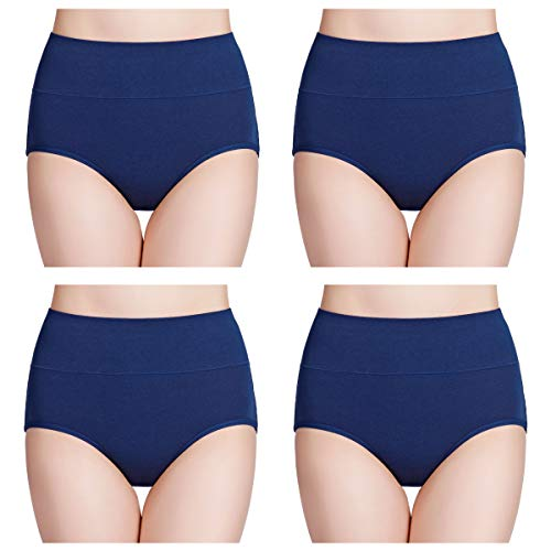 (wirarpa Women's Cotton Underwear High Waisted Full Brief Panty Ladies No Muffin Top Underpants 4 Pack Blue Size 6, Medium)