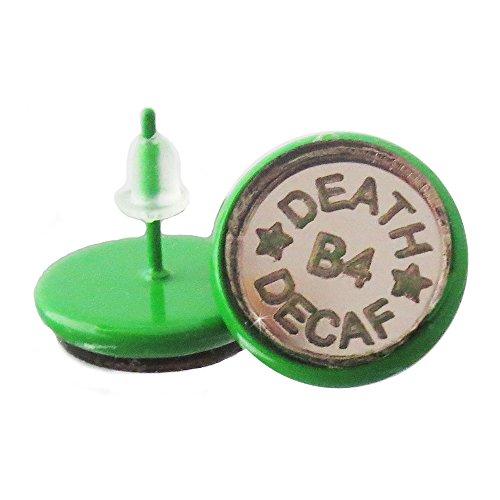 (Death Before Decaf Stud Earrings)