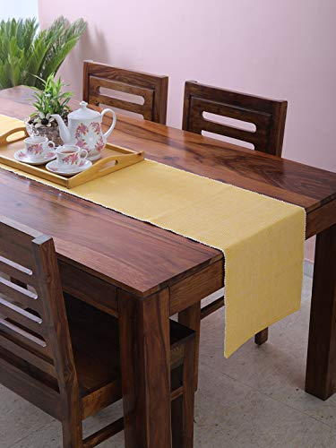 DG Collections Table Runner for Dining Table, Made from Pure Cotton |Woven Ribbed Design | Easy To Wash and Dry | Size 90