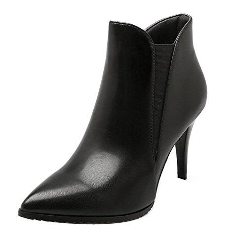 Ladola Womens Pointed-Toe Fur-Lined Waterproof Urethane Boots Black X03KMEEjoT