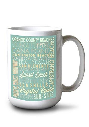 Lantern Press Orange County Beaches, California - Typography (15oz White Ceramic Mug)