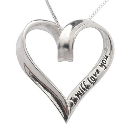 Argent sterling 925I will Love You Always & Forever Cœur Collier chaîne de 45,7cm Cadeau par Trulycharming