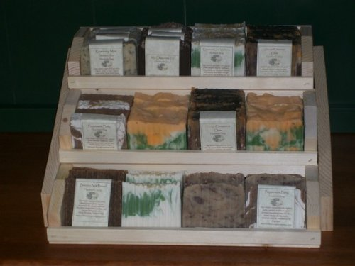 Three Tier Wooden Handmade Soap Display Holds 36 Plus Bars