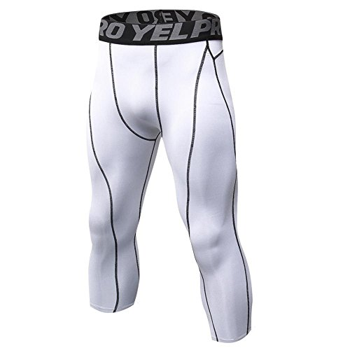Men's Tights 3/4 Compression Pants Base Layer Cool Dry Sports Tights Running Pants Leggings