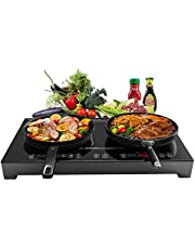 Sandoo Induction Cooktop,1800W Double Burners Electric Stove, 6 Power/Temp Levels Countertop Burner with Kids Safety Lock, Tempered Glass Top Induction Cooker,for Cast Iron, Stainless Steel Pan HA1911